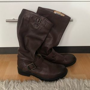 Frye Veronica Slouch Boots - brown leather